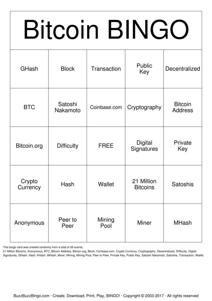 Bitcoin Bingo Card