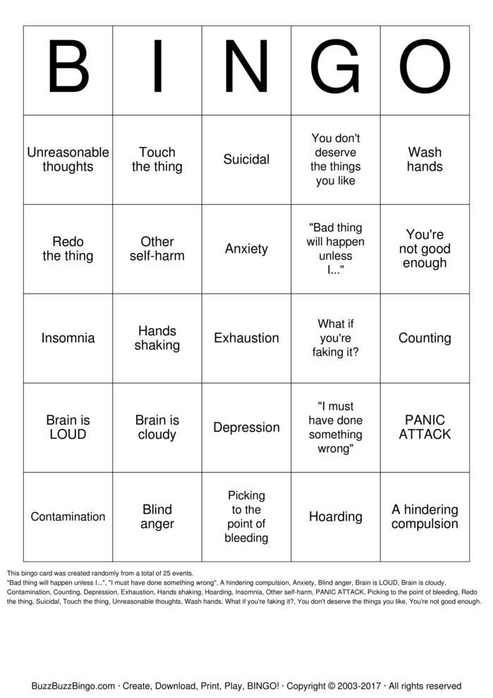 Download OCD Bingo Cards