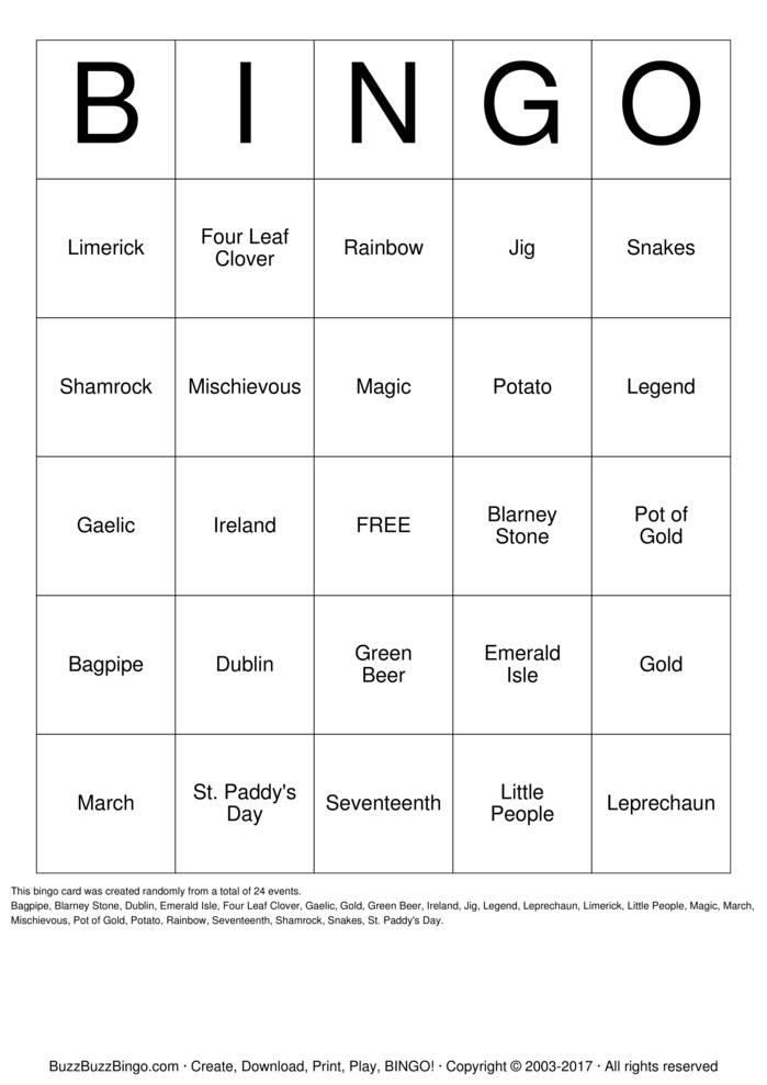 Download St. Patrick's Day Bingo Cards