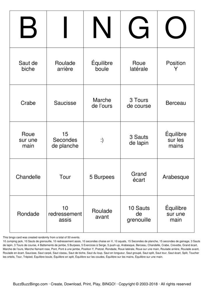Download bingo gymnique Bingo Cards