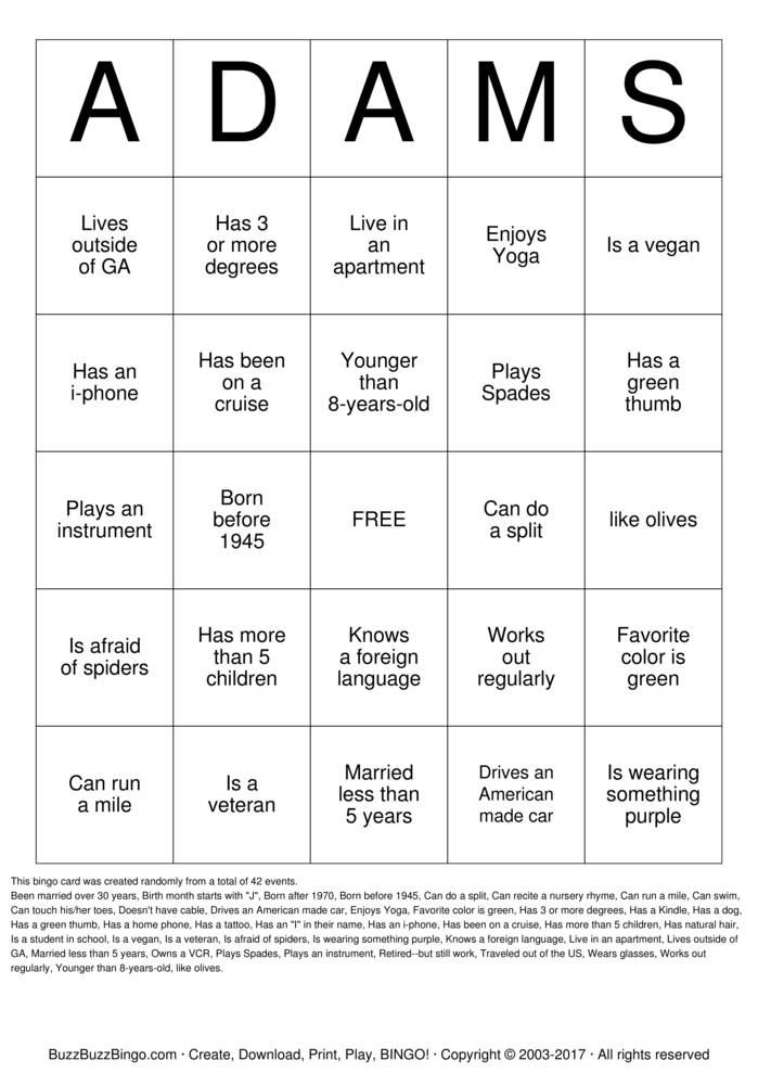 Download Adams Family Reunion  Bingo Cards