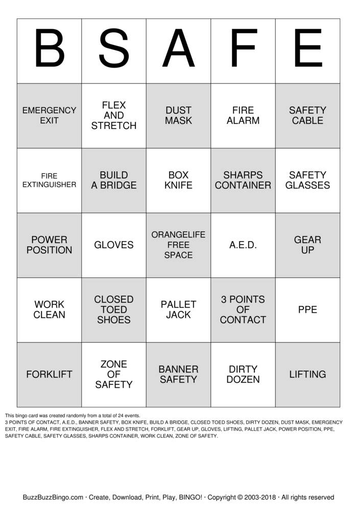 Download SAFETY BINGO Bingo Cards