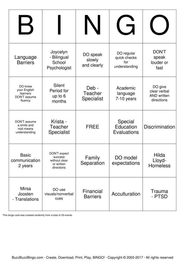 Download School Psychologist Bingo Cards