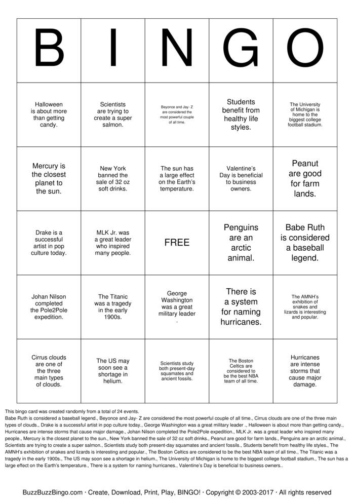 Main Idea Bingo Cards to Download, Print and Customize!