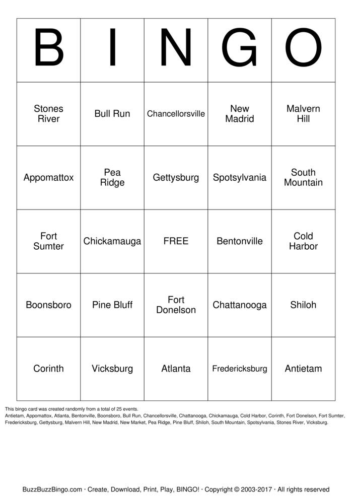 Civil War Battles Bingo Card