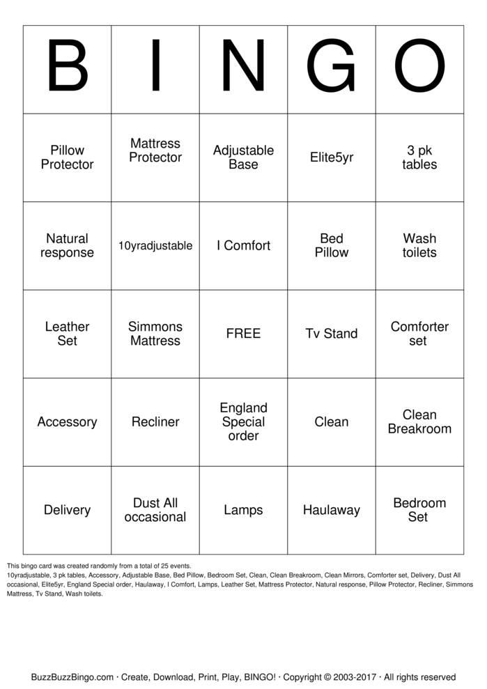 Download Furniture Bingo Bingo Cards