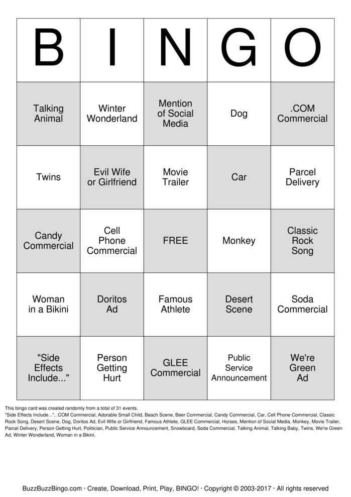 print super bowl bingo bingo cards customize super bowl bingo bingo ...