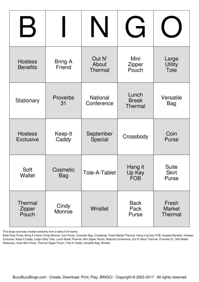Download Thirty One Bingo Cards