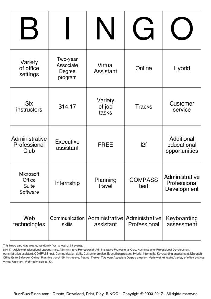 Administrative Professional Bingo Cards To Download Print
