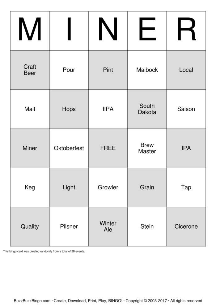 Download Beer  Bingo Cards