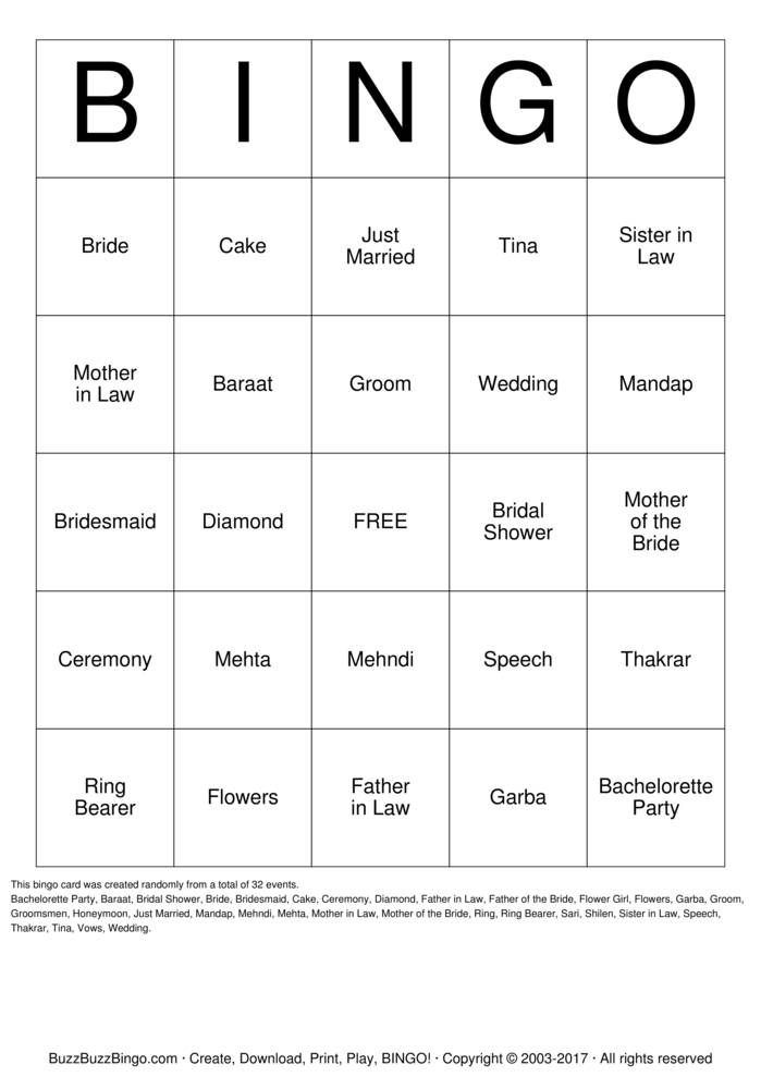 Bingo Card Template Printable Bridal Bingo Cards - print bridal bingo ...