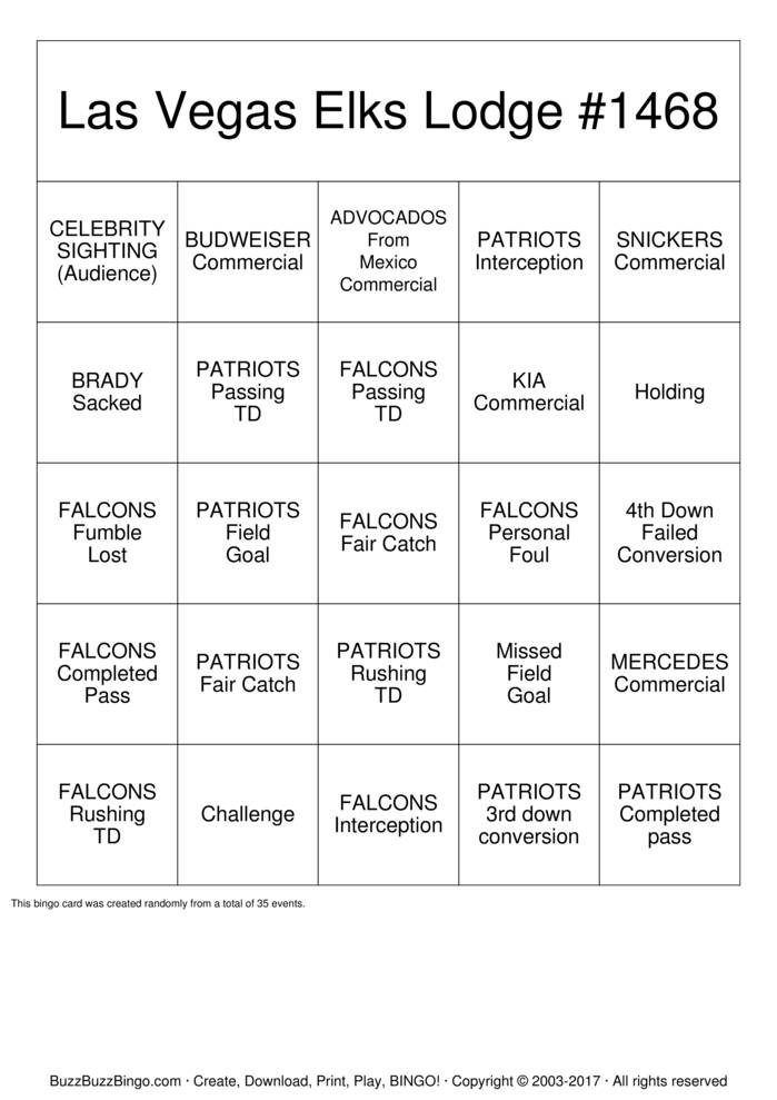 Download 2017 Superbowl  Bingo Cards