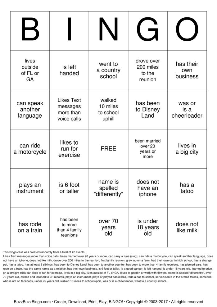 Download Family Reunion Bingo Bingo Cards