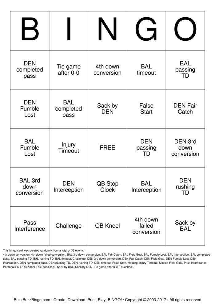 Download Football Bingo Cards