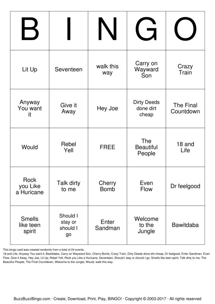 Download Rock N ROLL  Bingo Cards
