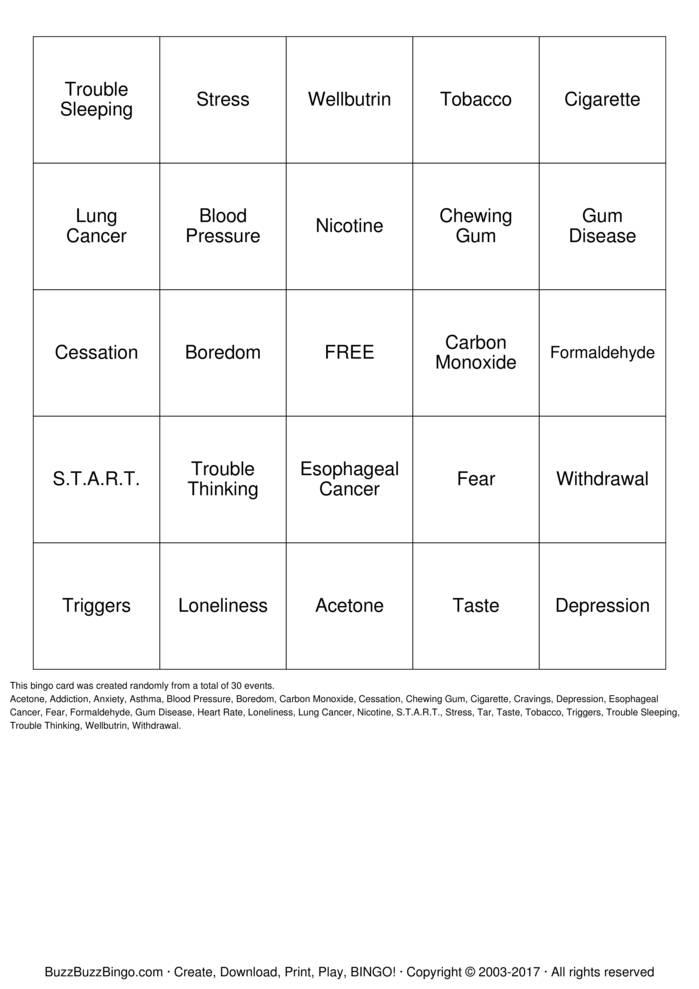 Smoking Cessation BINGO Bingo Card
