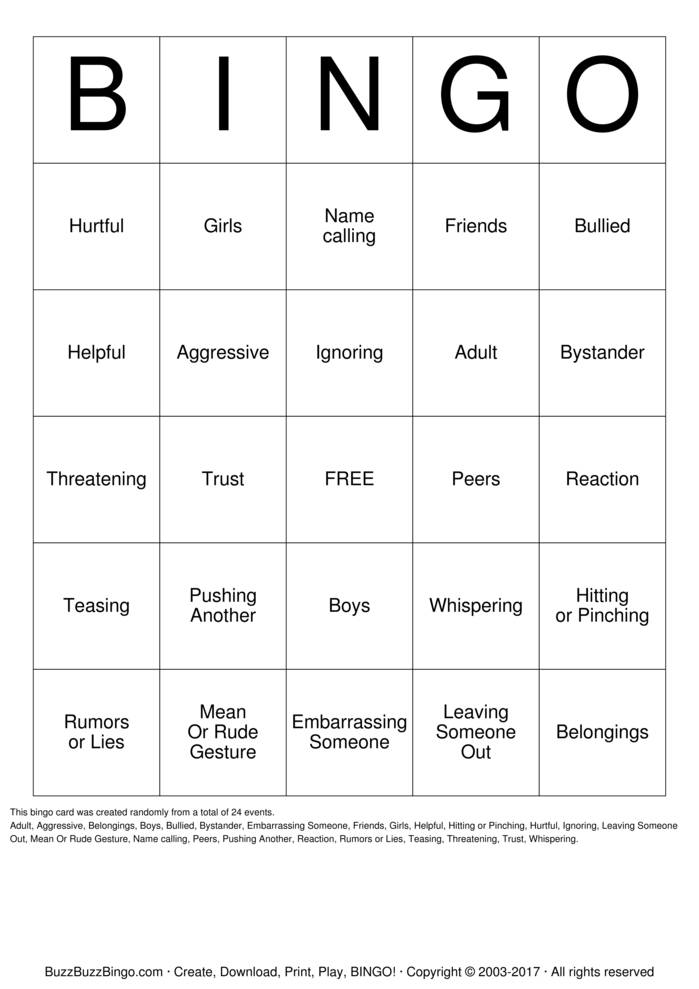 Download Bully Prevention Bingo Cards