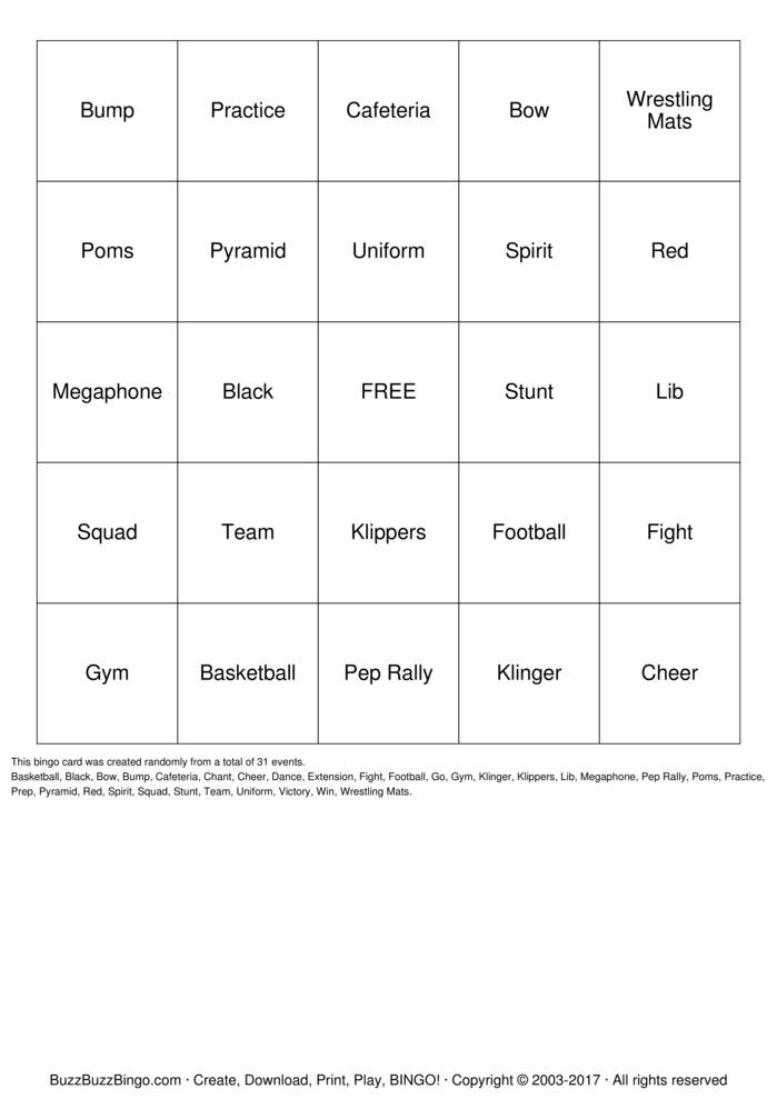 Download Cheerleader Bingo Cards