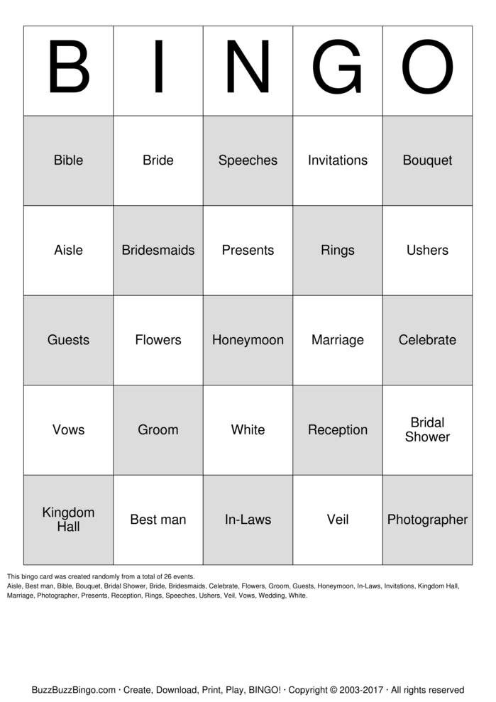 Samanthas Bridal Bingo Cards to Download, Print and Customize!