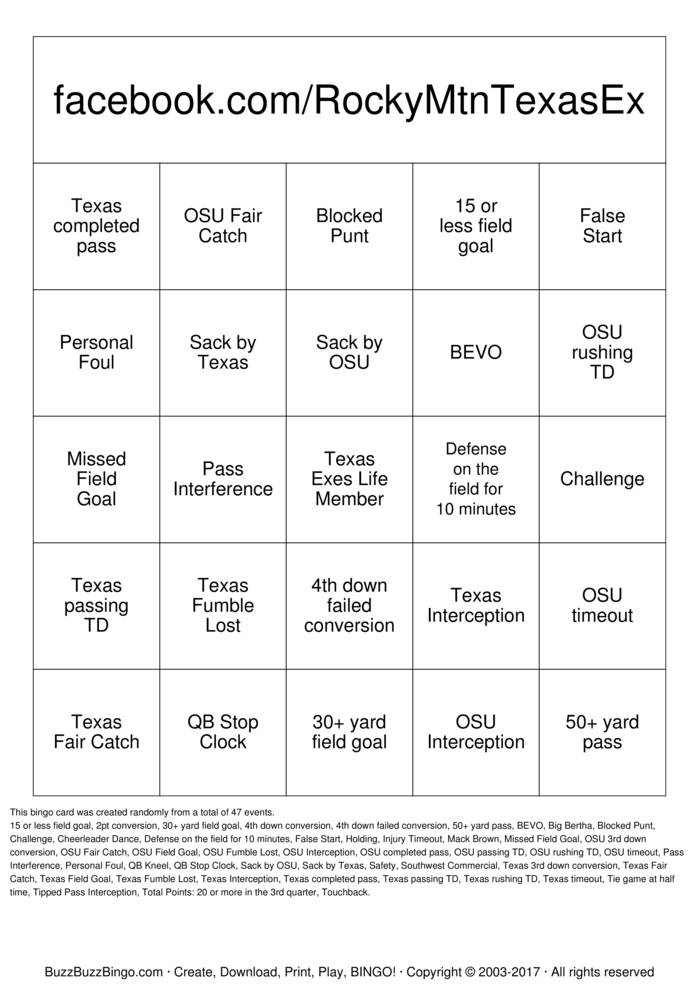 This is a picture of Nifty Free Printable Football Bingo Cards