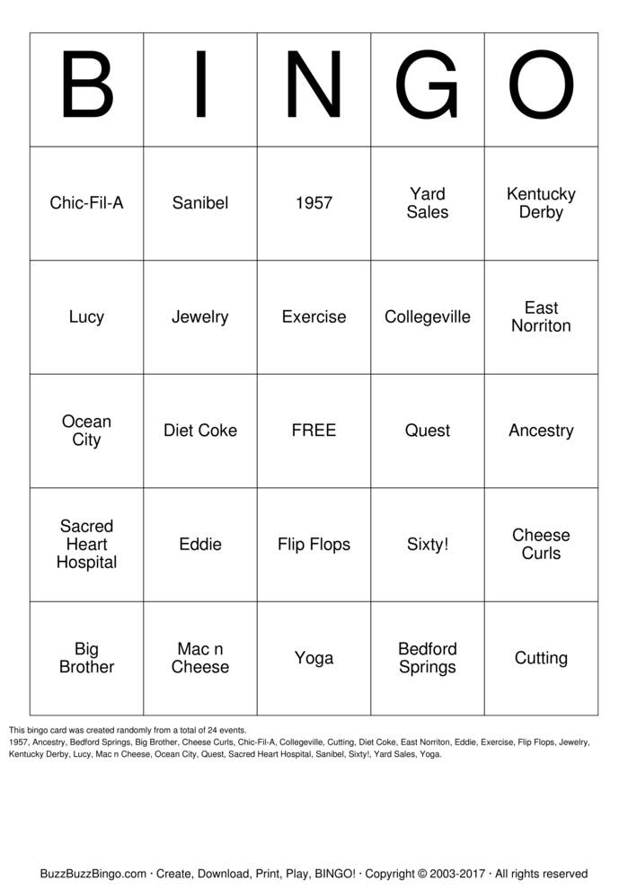 Download HAPPY BIRTHDAY, NANCY! Bingo Cards