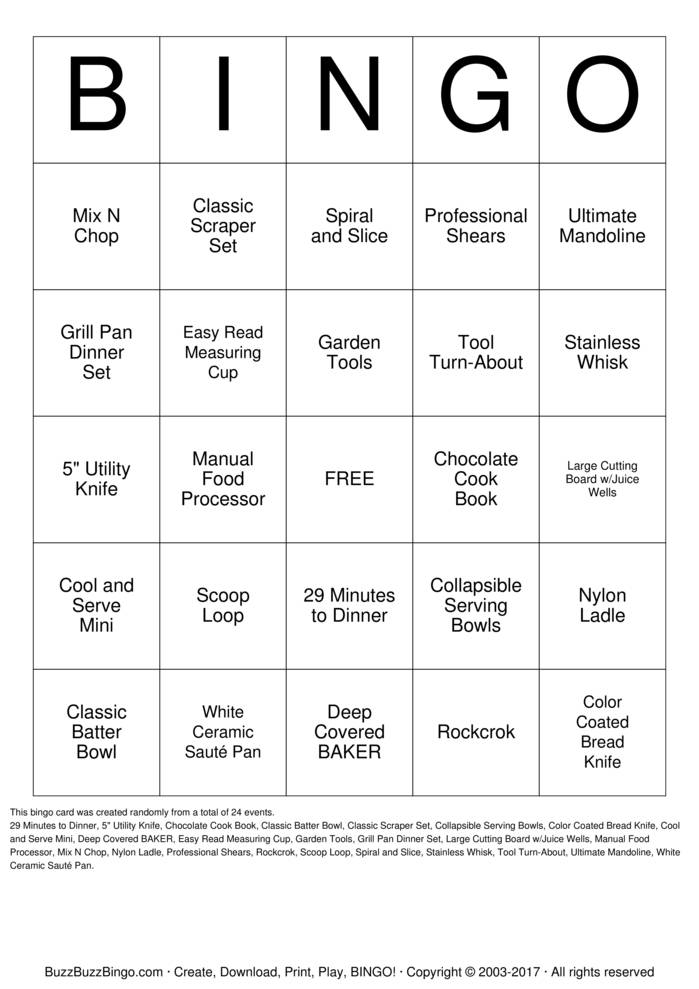 Pampered Chef Bingo Cards To Download Print And Customize