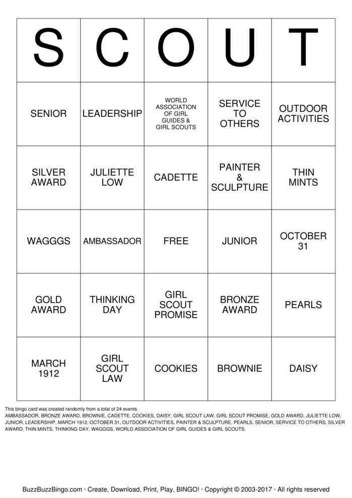 scout bingo cards to download print and customize. Black Bedroom Furniture Sets. Home Design Ideas