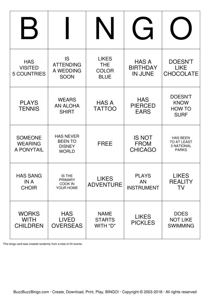Download ICEBREAKER BINGO Bingo Cards