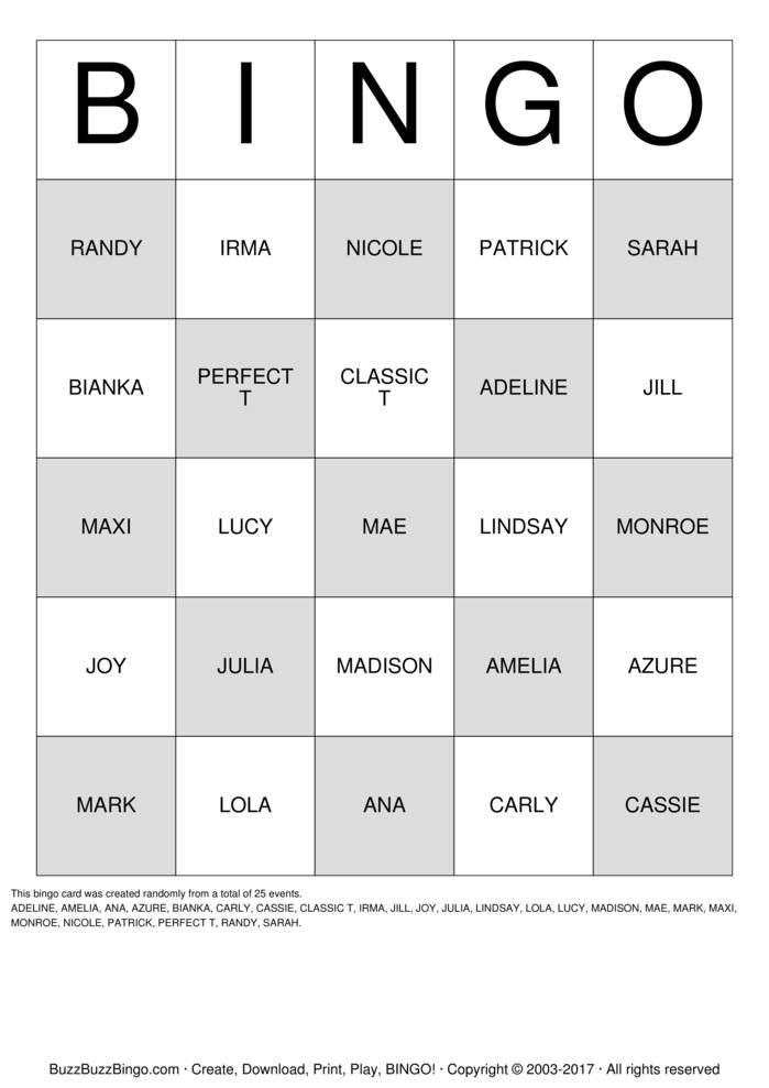 Download LULAROE BINGO Bingo Cards