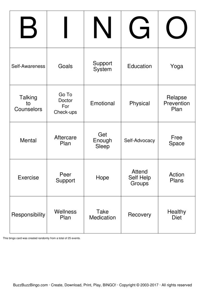 Recovery Bingo Cards to Download Print and Customize – Wellness Recovery Action Plan Worksheet