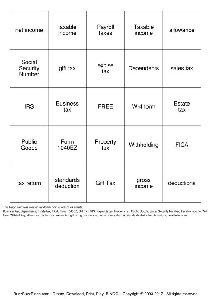 Download TAXPRO ELITE Bingo Cards