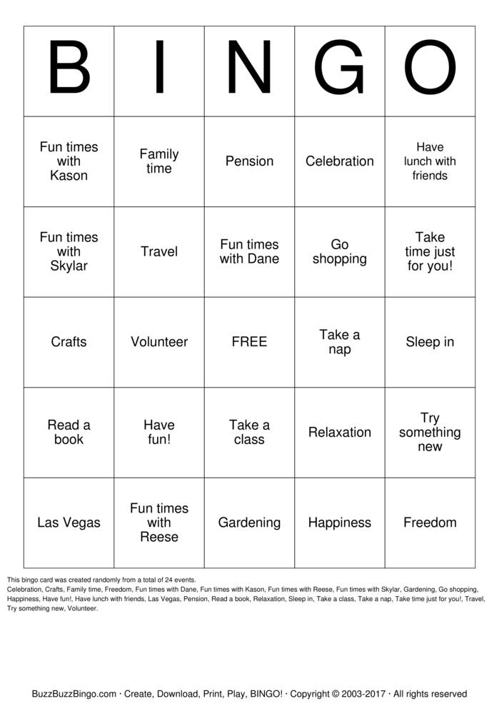 Download Yolanda's Retirement Bingo Cards