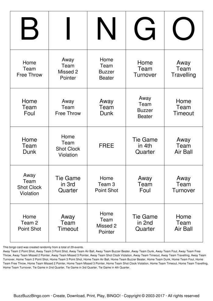 Basketball Bingo Card