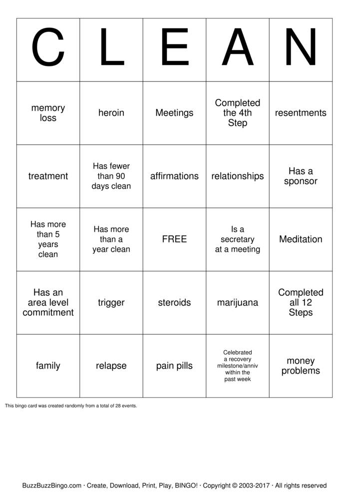 Download CLEAN Bingo Cards