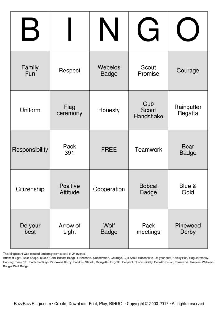 cub scouts bingo cards to download  print and customize
