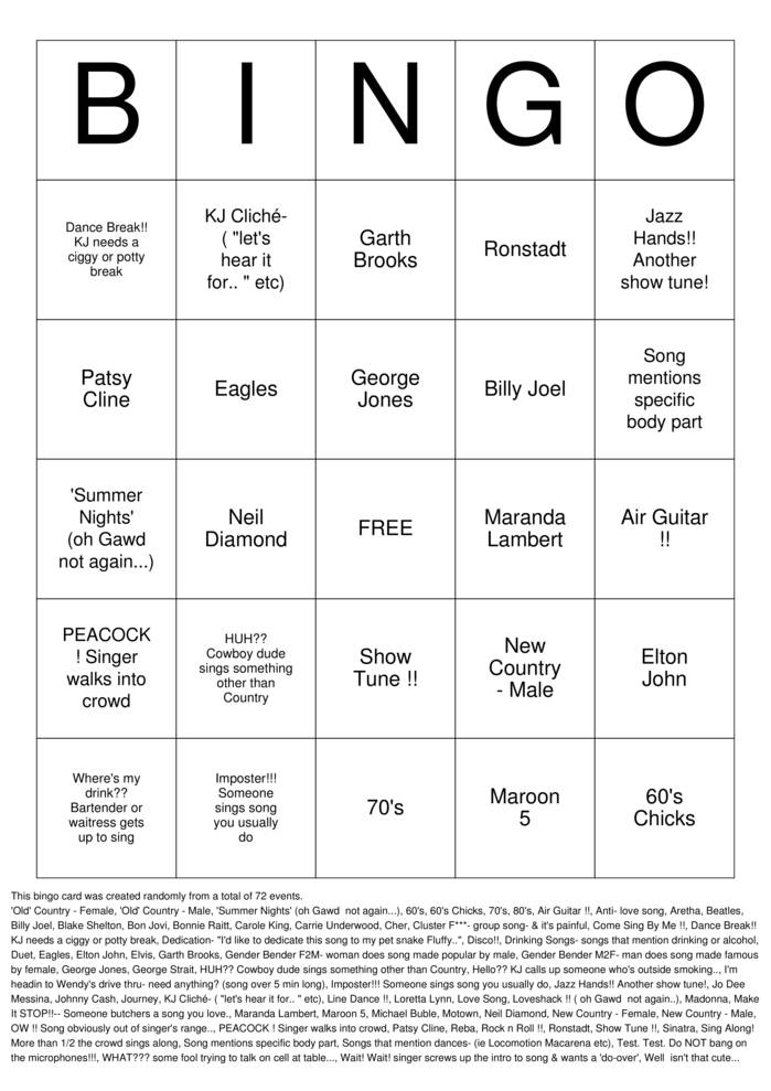 Download Karaoke Bingo  Bingo Cards