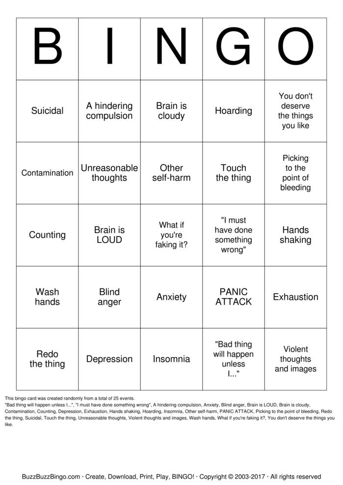 Download OCD Bingo Cards