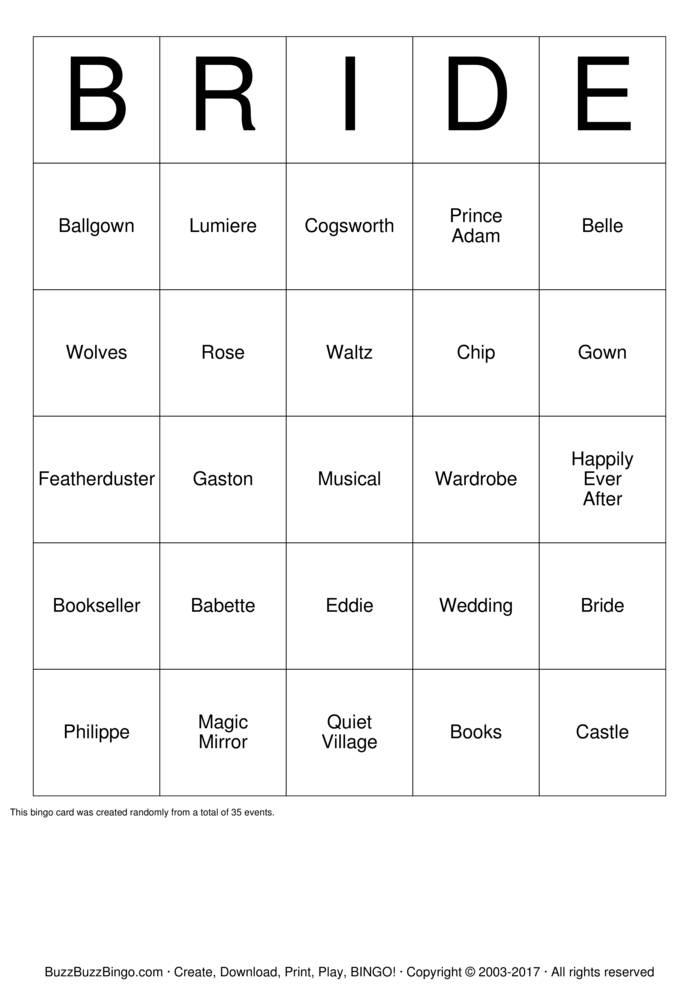Download BEAUTY AND THE BEAST BINGO Bingo Cards