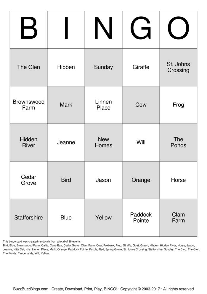 Download New Homes Bingo Cards