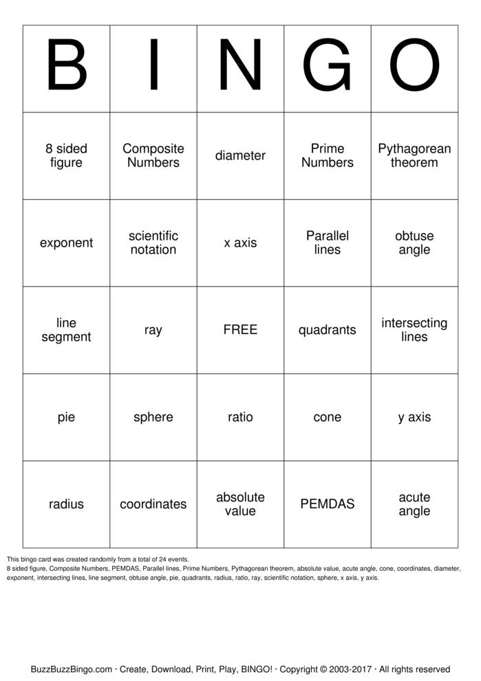 7th grade Math Bingo Cards to Download, Print and Customize!