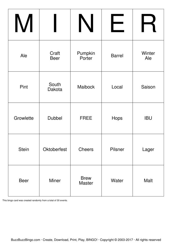 Download Beer and Bingo Bingo Cards