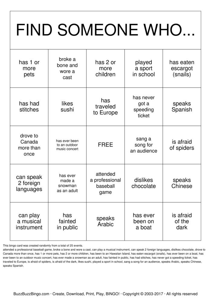 Find Someone Who Bingo Cards To Download Print And