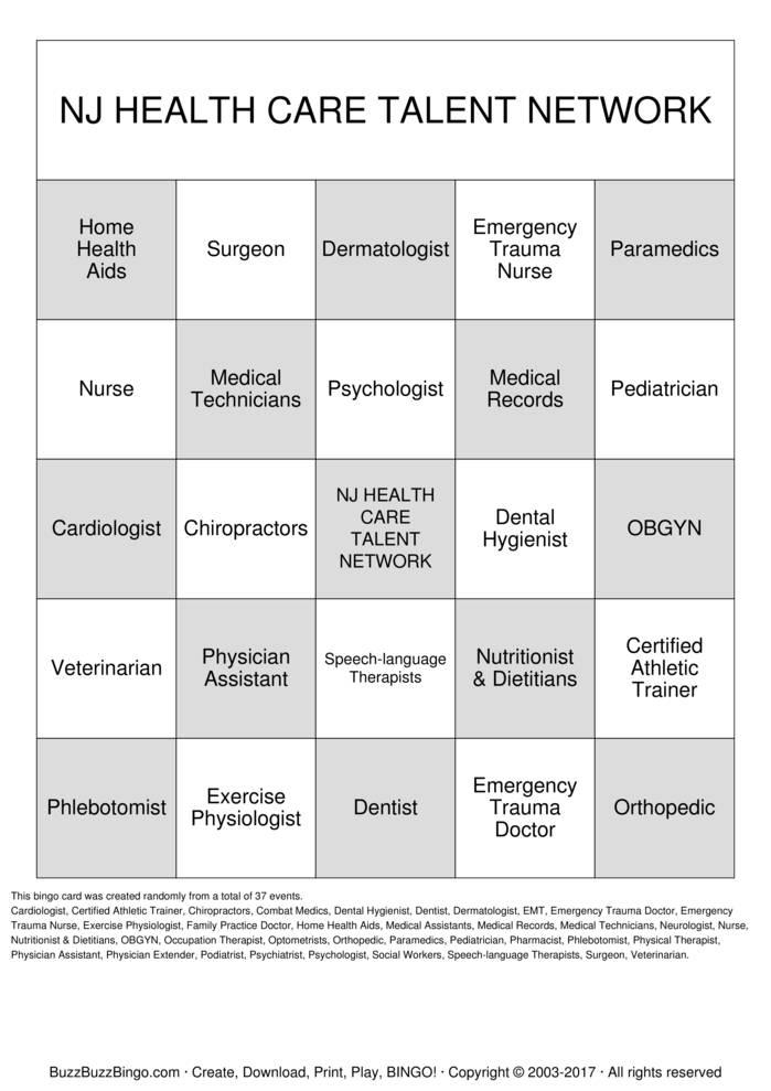 Download Health Care Careers Bingo Cards