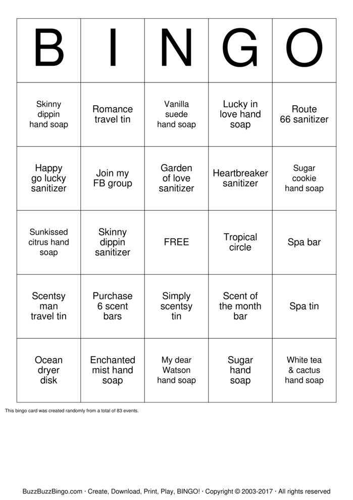 Scentsy Products Bingo Card
