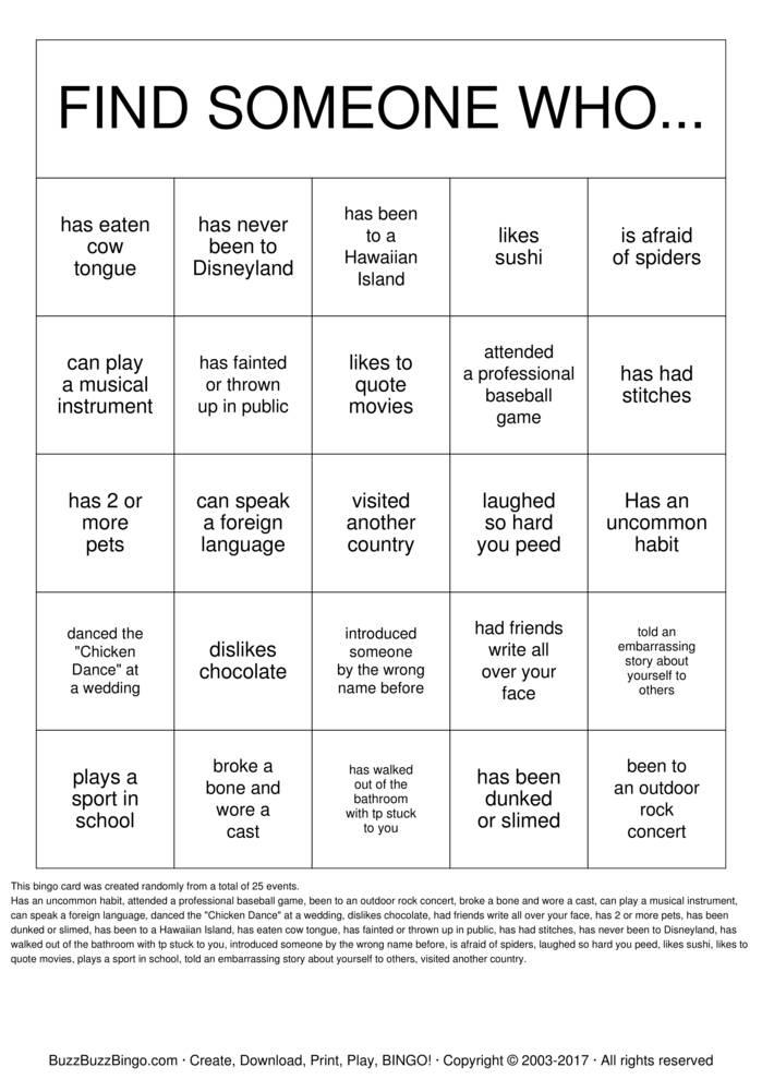 Print Human Bingo Bingo Cards Customize Human Bingo Bingo