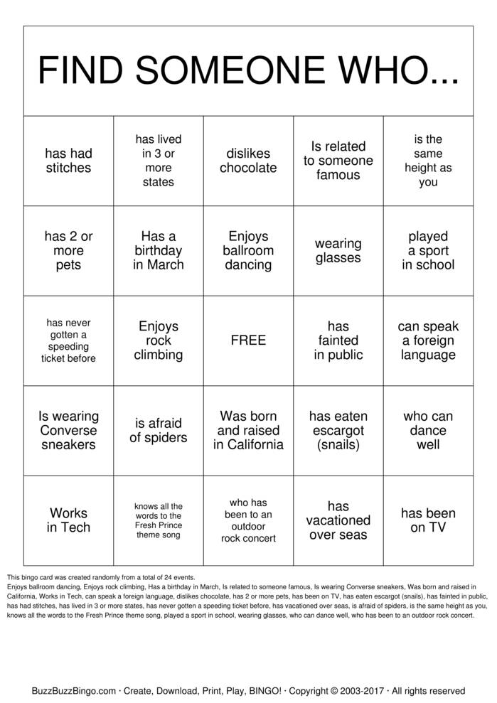 Getting to Know you! Bingo Cards to Download, Print and Customize!