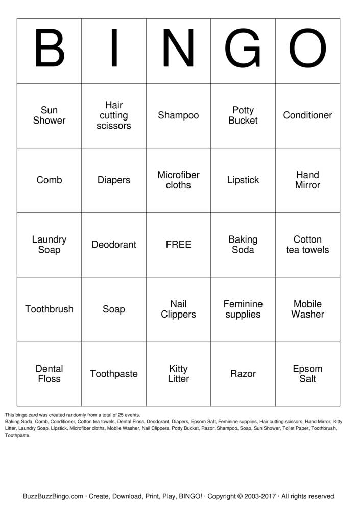 Download Hygiene Bingo Cards