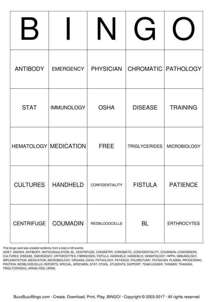 lab week bingo cards to download