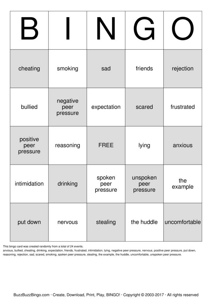 Peer Pressure Bingo Cards to Download, Print and Customize!