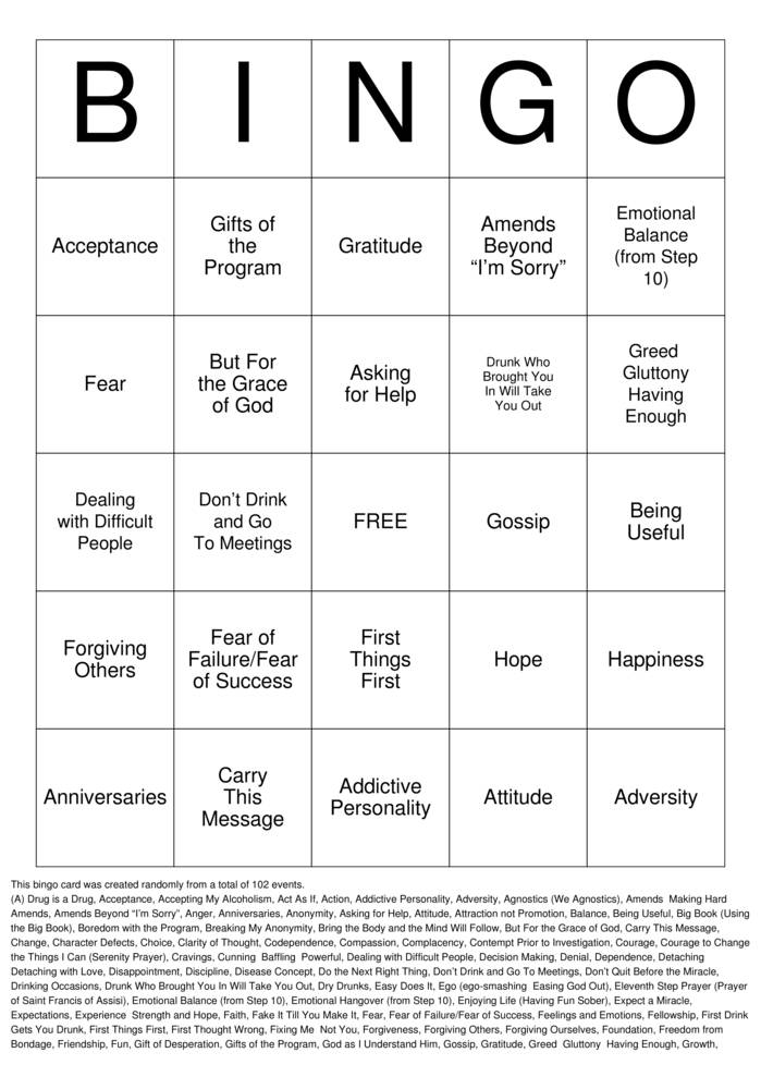 Download Sobriety Bingo Cards